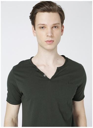 Lee Cooper Lee Cooper Erkek Koyu Yeşil Düğmeli T-Shirt Yeşil